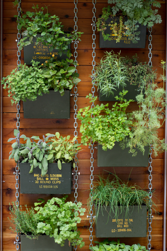Captivating Ammo Can Vertical Herb Garden. Ryan Benoit Design, 2013.